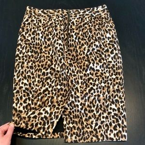 LOFT Leopard Pencil Skirt